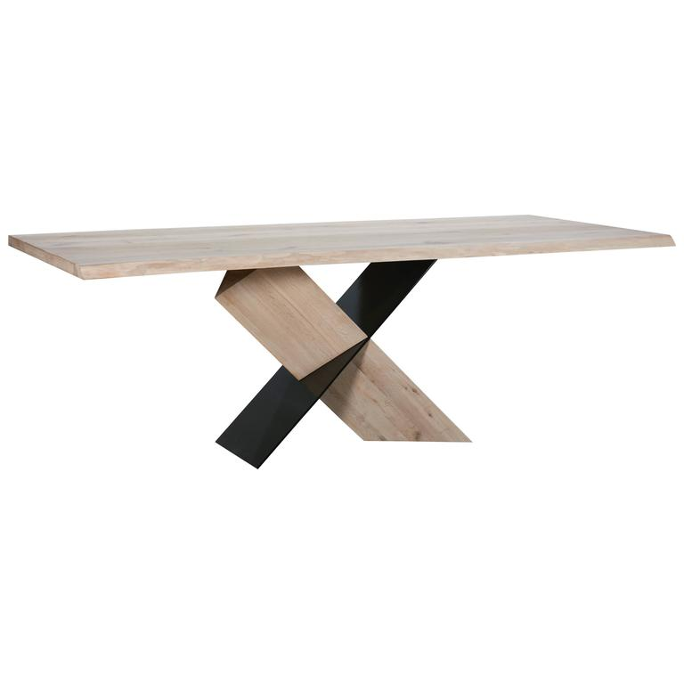 Bleached Oak Live Edge Dining Table For Sale