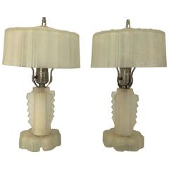 Stunning Pair of Art Deco Lalique Glass Lamps Nickle Finials Blue Perimeter