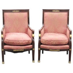 Pair of Empire Style Bergeres with Swans Heads