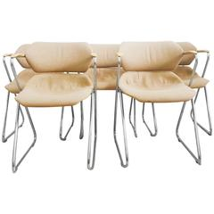 Set of Five Stackable Chrome Chairs by Hugh Acton for American Seating