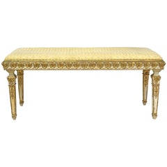 Belle Époque Bench in Gilded & Polychrome Wood with Upholstered Seat