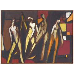 1967 Figurative Abstract Oil Painting by American School Artist Arnold Weber