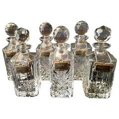 Six Very Desirable English Liquor Decanters with Silver Plate Labels