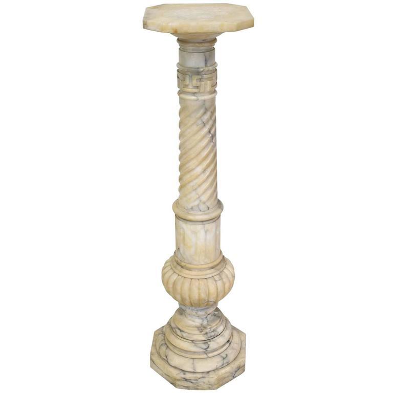 19th Century French Napoleon Iii Alabaster Column Pedestal