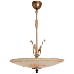 Swedish Art Deco 1935 Orrefors Mermaid Glass Pendant Lamp Chandelier