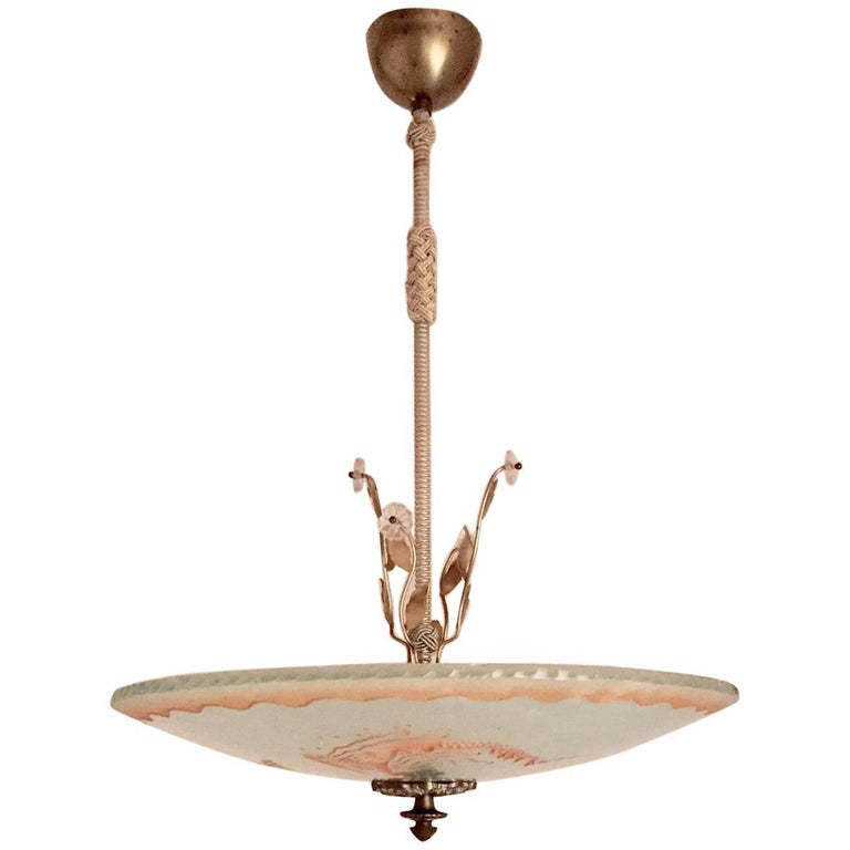 Swedish Art Deco 1935 Orrefors Mermaid Glass Pendant Lamp Chandelier