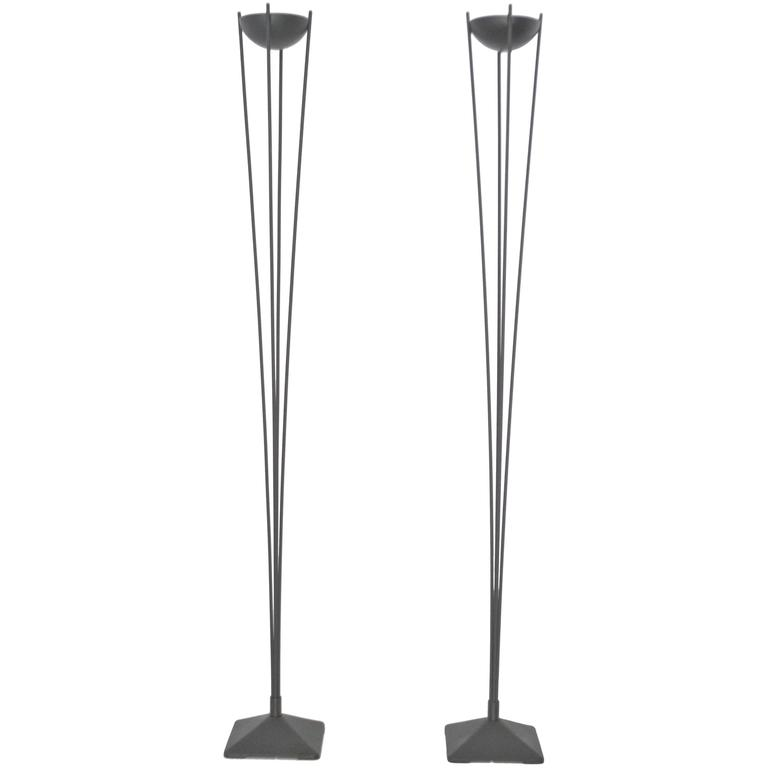 Pair of italian post modern torchiere floor lamps by koch for Contemporary torchiere floor lamps