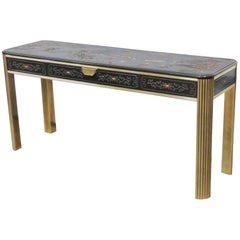 Mastercraft Style Chinoiserie Decorated Brass Console Sofa Table