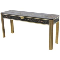 Mastercraft Style Chinoiserie Decorated Brass Console