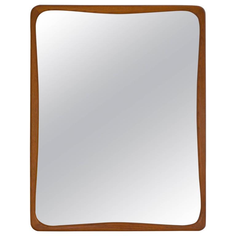 Mid-Century Oak Rectangular Wall Mirror