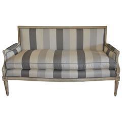 Louis XVI Style Painted Sofa with New Stripe Linen Fabric, Feather and Dawn Seat