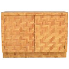 Mid-Century Two-Door Rattan Cabinet