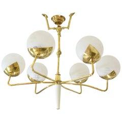Italian Mid-Century Articulating Brass Spider Chandelier, 1950s