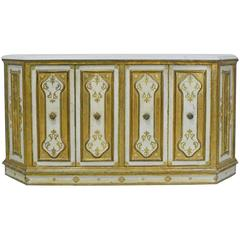 Early 20th Century Venetian Style Console with Gold Leaf and White Marble Top