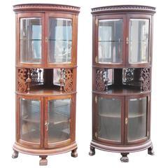 Rare Companion Pair of Oak Carved Corner Cabinets