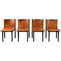 Set of Four Natural Leather 'Caprile' Chairs by G.F. Frattini for Cassina, 1985
