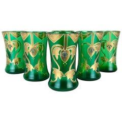 Antique Green Drinking Glasses with Golden Art Nouveau Enamel Decor