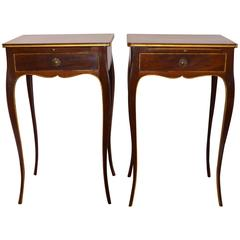 Pair of Elegant Mahogany Side Tables, Gilded Molding, Drawer and Pull-Out Table