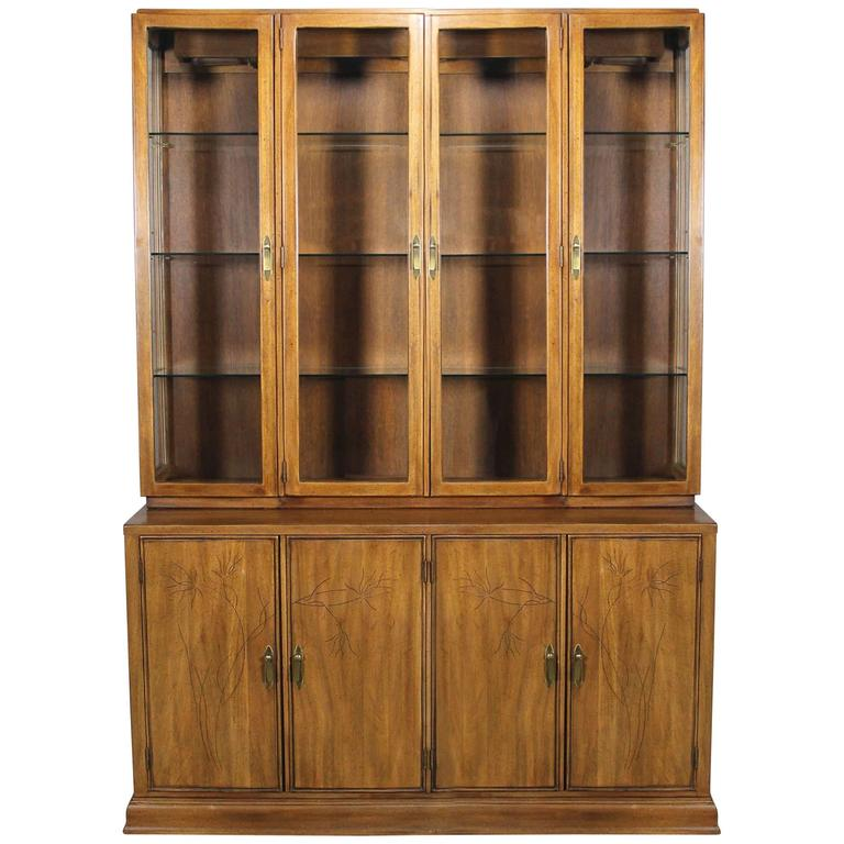 Davis Cabinet Lighted Display Cabinet China Hutch Vintage Mid Century Modern