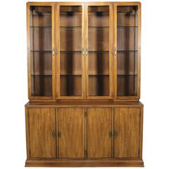 Davis Cabinet Lighted Display Cabinet China Hutch Vintage Mid-Century Modern