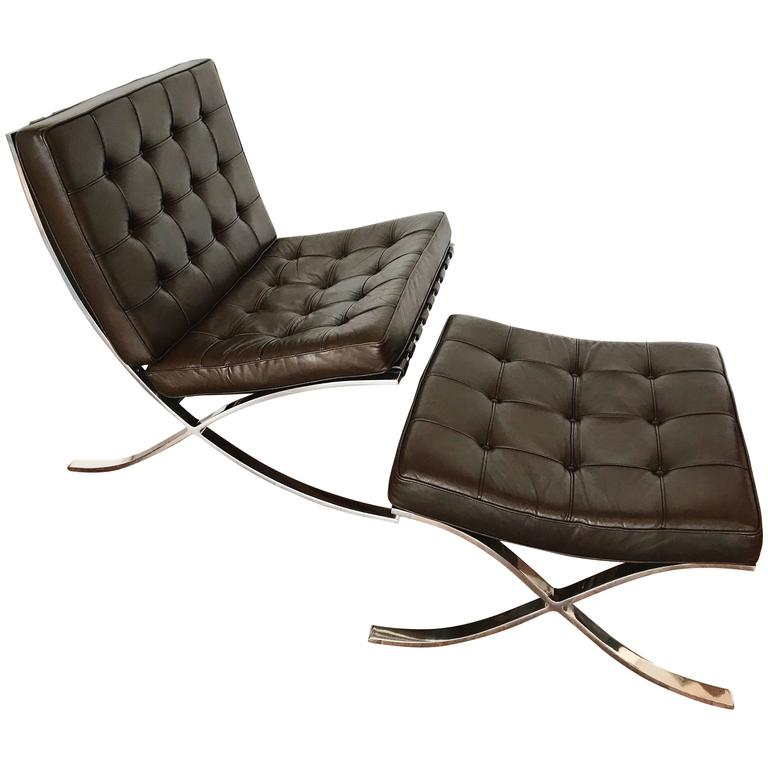 Mocha Brown Leather Barcelona Chair U0026 Ottoman By Ludwig Mies Van Der Rohe,  Knoll For
