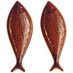 Pair of Ceramic Fish Trays by Stig Lindberg for Gustavsberg, 1960s, Sweden