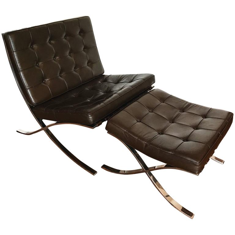 mocha brown leather barcelona chair and ottoman by ludwig. Black Bedroom Furniture Sets. Home Design Ideas