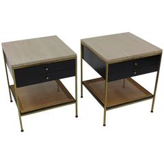Pair of Paul McCobb Irwin Collection Brass Nightstands with Travertine Tops