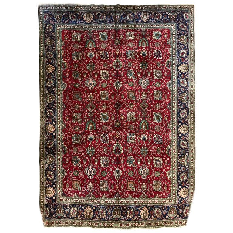 Extra-Large Vintage Persian Wool Rug, Signed