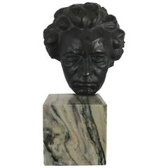 Bronze and Marble Head of Beethoven Sculpture