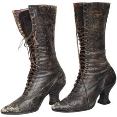 Pair of Ladies Victorian High-Top Leather Boots