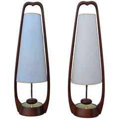 Mid-Century Modern Walnut Table Lamps by Modeline