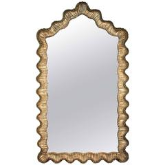 Italian Hollywood Regency Giltwood Silvered Curved Mirror, circa 1950