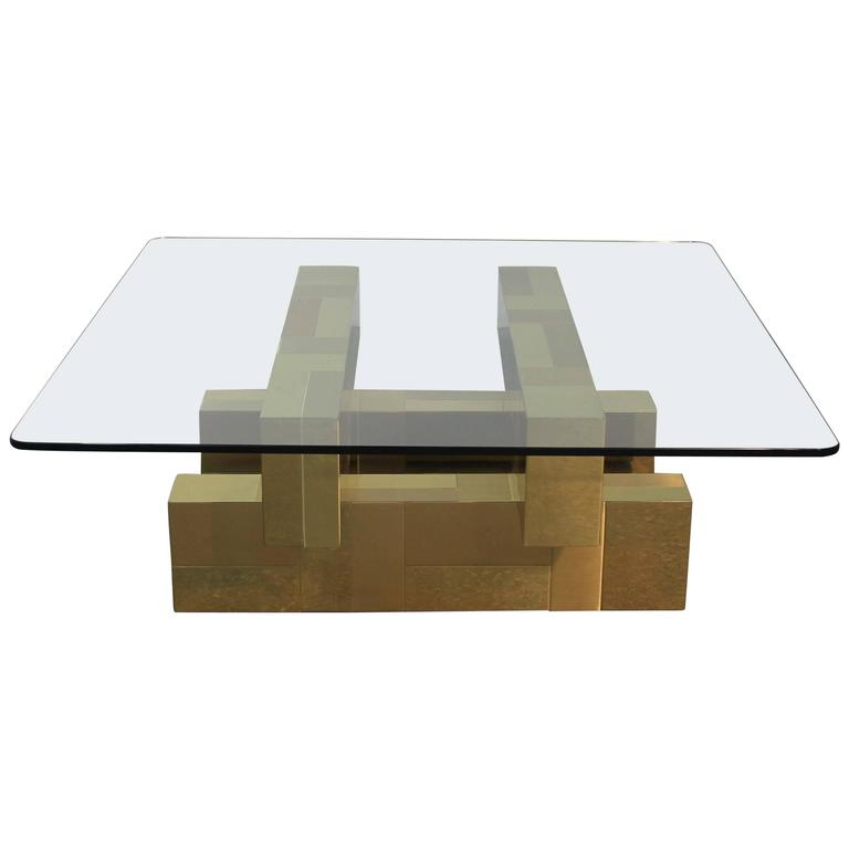Paul Evans Brass and Glass Top Cityscape Coffee Table