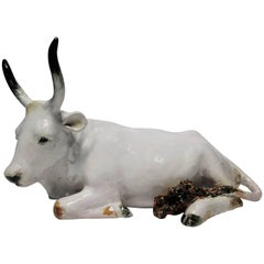 Italian White Pottery Animal Bovine or Cow Sculpture