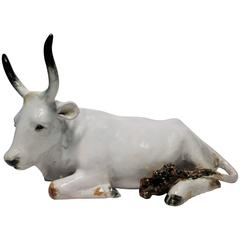 Large Vintage Italian White Ceramic Pottery Cow Sculpture, Italy