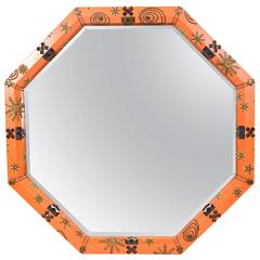 Orange Leather Wrapped Octagon Studded Mirror