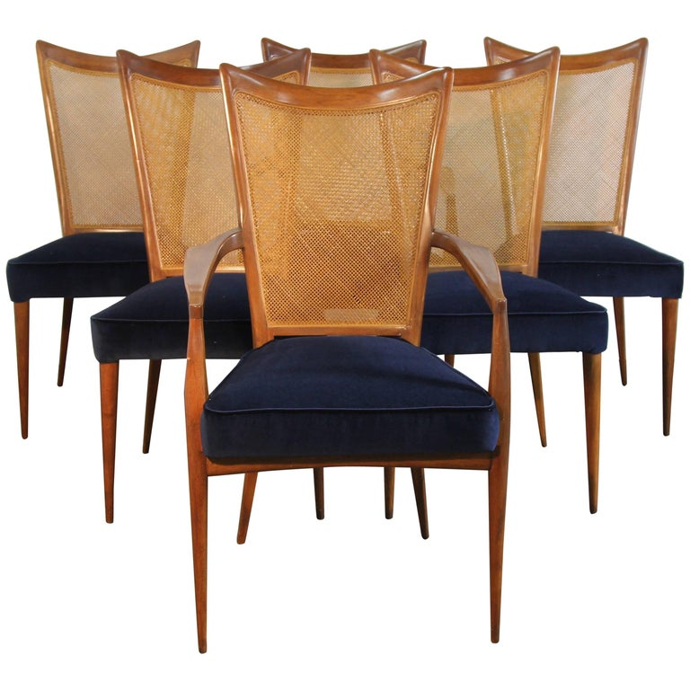 Set of Six Erno Fabry Dining Chairs Newly Upholstered Navy Velvet For Sale