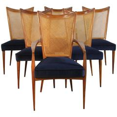 Set of Six Erno Fabry Dining Chairs Newly Upholstered Navy Velvet
