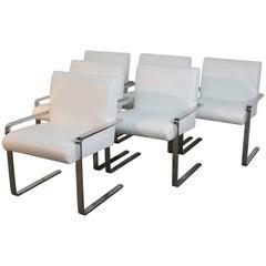 Set of Six Newly Upholstered Arthur Umanoff Chrome Flat Bar Dining Chairs
