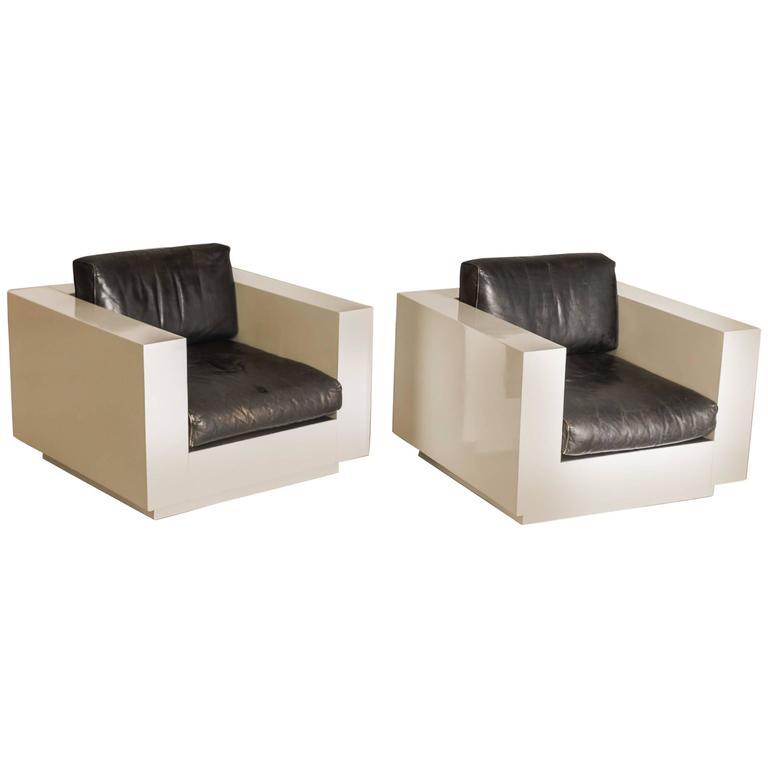 "Pair of Massimo and Lella Vignelli Cube Chair ""Saratoga"", Italy, 1968"