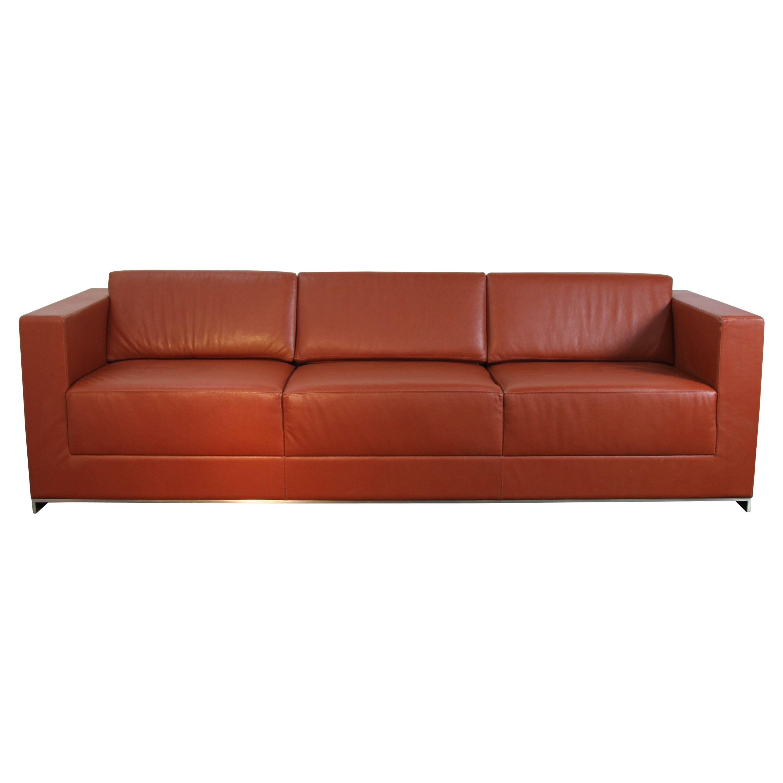 Three-Seat Brown Leather Tufted Sofa on Chrome Frame by Johann ...