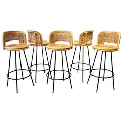 Set of Pristine Rattan and Wrought Iron Bar Stools by Seng of Chicago, 1950s
