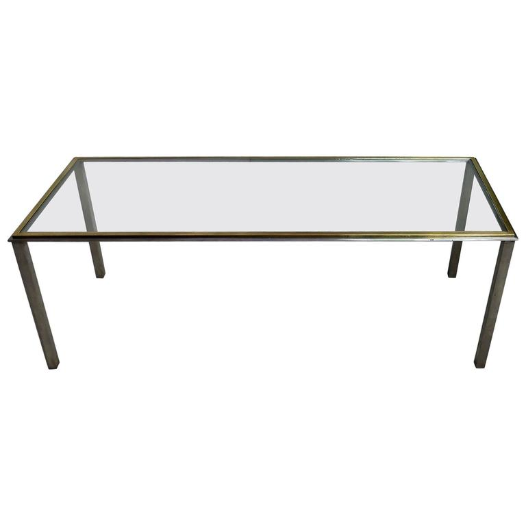 Mid-Century Coffee Table in the Romeo Rega Style Steel and Brass Frame