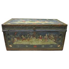 Chinese Trunk in Wood and Ornemented Leather, circa 19th Century