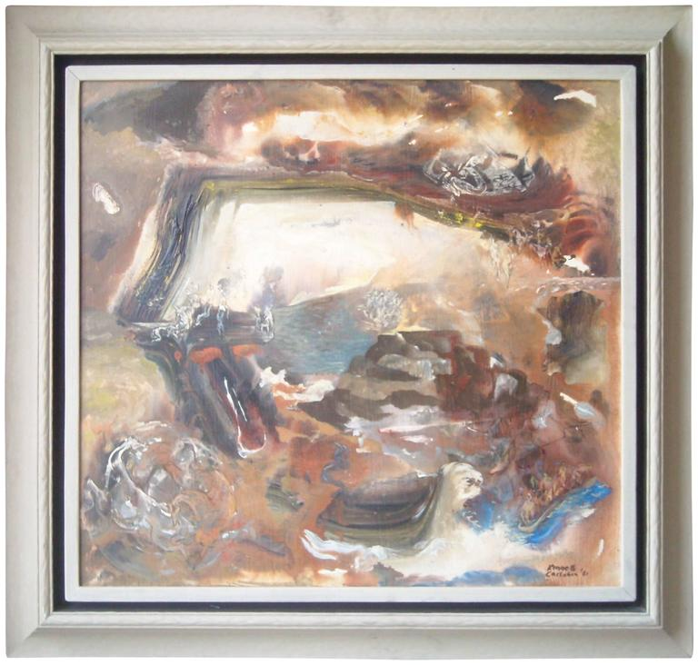 Kenneth Callahan Large, Tempera, Masonite Painting, Dated and Signed For Sale