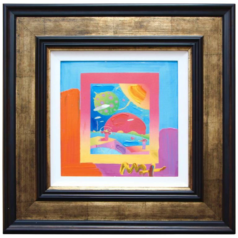 "Peter Max Mixed-Media on Canvas ""Year of 2250 on Blends"" Ver 1, 2008 For Sale"