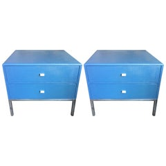 Pair of Grasscloth Night Chests by Ron Seff