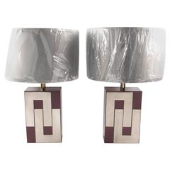 Pair of Mid-Century Formica and Chrome Lamps Attributed to Philippe Jean