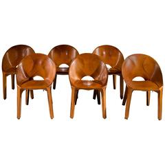 "Rare Set of Six ""Lira"" Saddle Leather Chairs by Mario Bellini for Cassina, 1989"